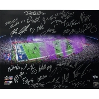 "2016 New England Patriots Team-Signed ""Superbowl 51 Celebration"" LE 16x20 Photo with (31) Signatures Including Tom Brady, Rob Gronkowski, Martellus Bennett, Malcolm Butler, Dion Lewis (Fanatics & TriStar Hologram)"