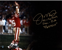"Joe Montana Signed 49ers 16x20 Photo Inscribed ""4-0 in Super Bowls,"" ""11TD's- 0INT's"" & ""Perfect"" (Steiner COA)"