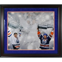 Wayne Gretzky & Mark Messier Signed Stanley Cup LE 16x24 Custom Framed Photo LE/99 (UDA COA)