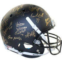 Heisman Trophy Winners Full Size Matte Black Helmet Signed by (25) with Paul Hornung, Billy Sims, Earl Campbell, Mike Rozier, Marcus Allen (Steiner COA)