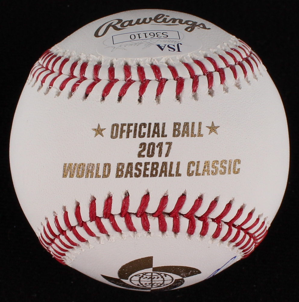 Balls Sports Mem, Cards & Fan Shop Jose Bautista Autographed Signed 2017 Wbc Baseball Ball Blue Jays Jsa Coa