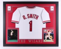 "Ozzie Smith Signed Cardinals 35"" x 43"" Custom Framed Jersey (JSA COA)"
