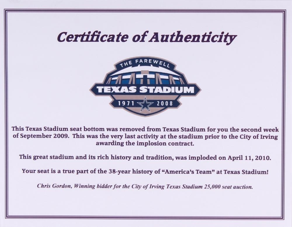 28149a204 Dallas Cowboys Texas Stadium Authentic Game-Used Seat Bottom (Texas Stadium  COA) at