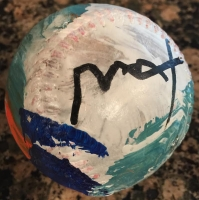 Peter Max Signed ORIGINAL Custom Hand-Painted Baseball with Display Case (Max Hologram)
