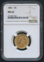 1881 $5 Five Dollars Liberty Head Half Eagle Gold Coin Type 2 with Motto (NGC MS 62)
