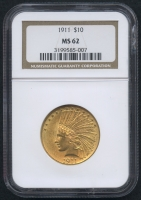 1911 $10 Ten Dollars Indian Head Eagle Gold Coin (NGC MS 62)