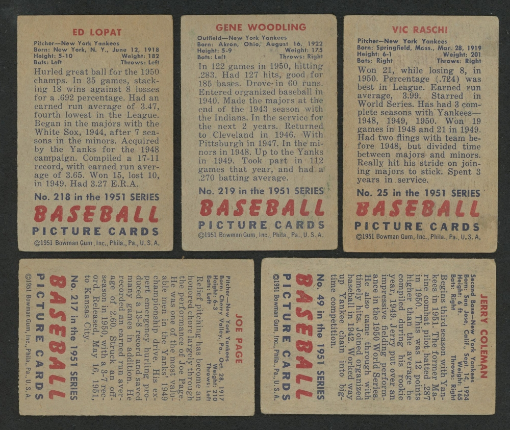 Lot Of 5 1951 Bowman Baseball Cards With 219 Gene Woodling RC