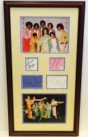 "The Jacksons 18"" x 32"" Custom Framed Cut Display Signed by (7) with Michael Jackson, LaToya, Janet, Jermaine, Marlon, Tito & Jackie (JSA LOA & COA)"