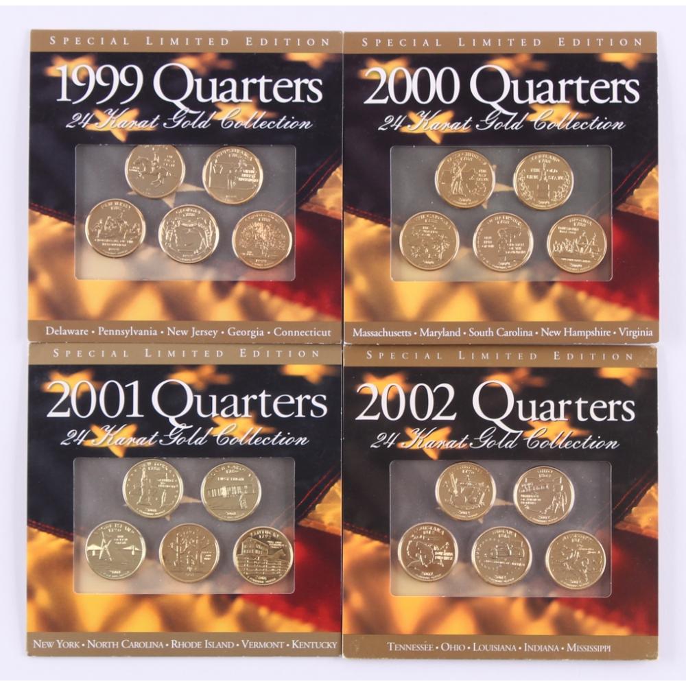 LOT of 10 Mint BU Coins 24K GOLD PLATED 2002 Louisiana State Quarters U.S