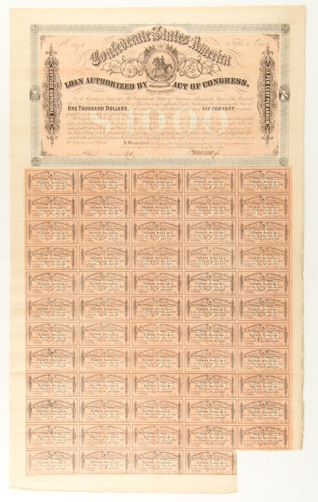 Authentic 1864  30 Confederate States Coupon From $1000 Civil War Bond FREE SHIP