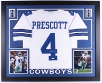 "Dak Prescott Signed Cowboys 35"" x 43"" Custom Framed Jersey (JSA COA)"