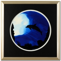 """Wyland """"Dolphin"""" Signed Original Watercolor on 19"""" Round Deckle-Edge Paper (Custom Framed to 30"""" x 30"""")"""