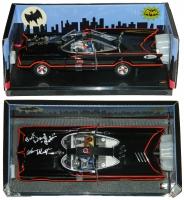 "Adam West & Burt Ward Signed 1:18 Hot Wheels 1966 Classic Batmobile Inscribed ""Robin"" (Beckett COA)"