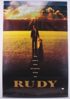 """Rudy Ruettiger Signed Rudy 27"""" x 40"""" Movie Poster Photo Inscribed """"Never Quit!"""" (JSA COA)"""