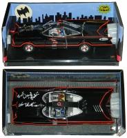 Adam West & Burt Ward Dual Signed Batman & Robin Batmobile 1966 TV Series Style Hot Wheels w/Robin at PristineAuction.com