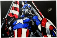 "Stan Lee Signed ""Captain America"" 36"" x 24"" Original Acrylic Painting on Canvas (JSA & Stan Lee Hologram)"