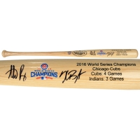 Kris Bryant & Anthony Rizzo Signed Cubs 2016 World Series Champions Louisville Slugger Baseball Bat (MLB Hologram & Fanatics Hologram)