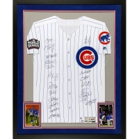 "2016 Cubs World Series Champions 32"" x 40"" LE Custom Framed Jersey Team-Signed by (20) with Kris Bryant, Anthony Rizzo, Jake Arrieta, Kyle Hendricks, Javier Baez, Dexter Fowler, Kyle Schwarber (MLB Hologram & Fanatics Hologram) at PristineAuction.com"