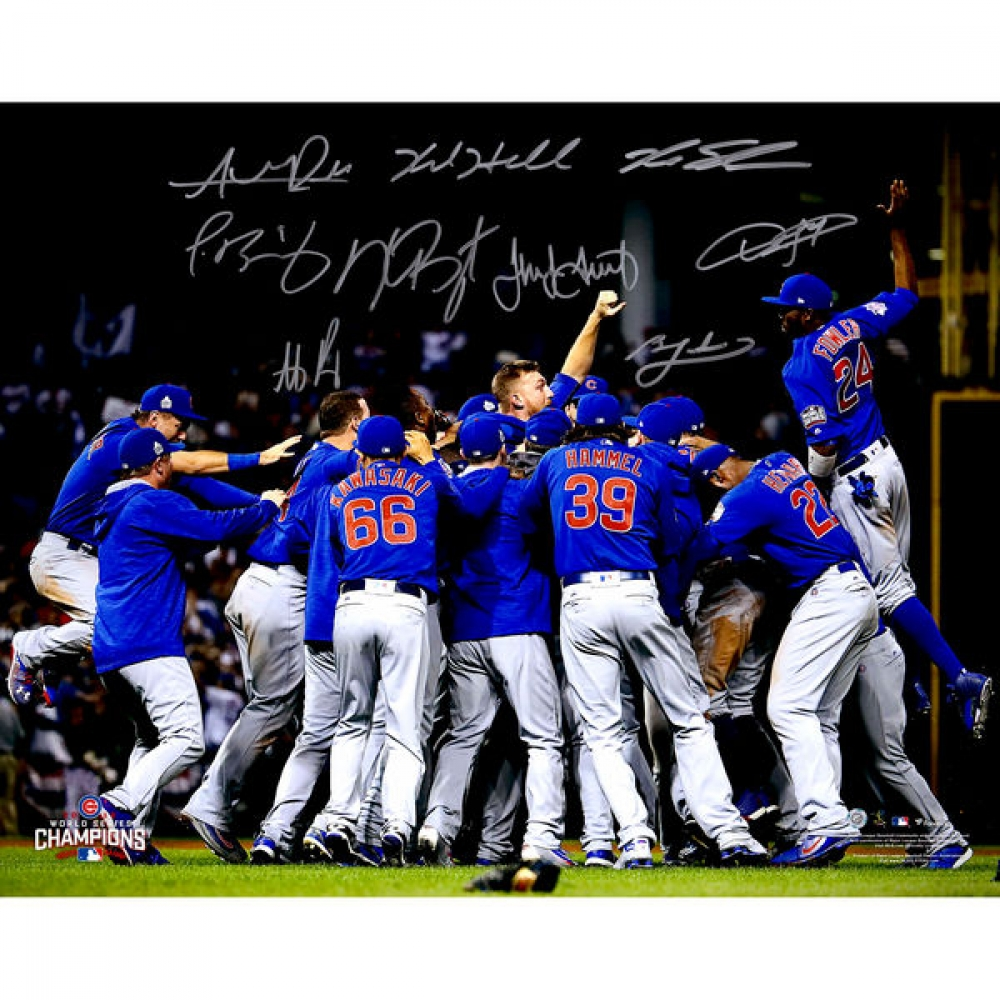 2016 Cubs World Series Champions 16x20 Photo Team-Signed by (9) with Kris Bryant, Anthony Rizzo, Jake Arrieta, Kyle Hendricks, Javier Baez, Dexter Fowler, Kyle Schwarber (MLB Hologram & Fanatics Hologram) at PristineAuction.com