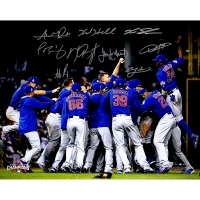 2016 Cubs World Series Champions 16x20 Photo Team-Signed by (9) with Kris Bryant, Anthony Rizzo, Jake Arrieta, Kyle Hendricks, Javier Baez, Dexter Fowler, Kyle Schwarber (MLB Hologram & Fanatics Hologram)