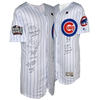 2016 Cubs World Series Champions Jersey Team-Signed by (9) with Kris Bryant, Anthony Rizzo, Jake Arrieta, Kyle Hendricks, Javier Baez, Dexter Fowler, Kyle Schwarber (MLB Hologram & Fanatics Hologram)