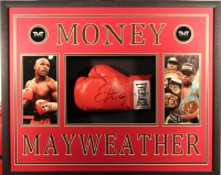 "Floyd Mayweather Signed ""Money"" 25x31x4 Custom Framed Boxing Glove Shadowbox Display (Beckett COA)"