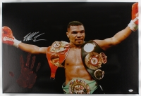 "Mike Tyson Signed 20"" x 31"" Giclee on Gallery Stretched Canvas with Original Handprint (JSA LOA)"