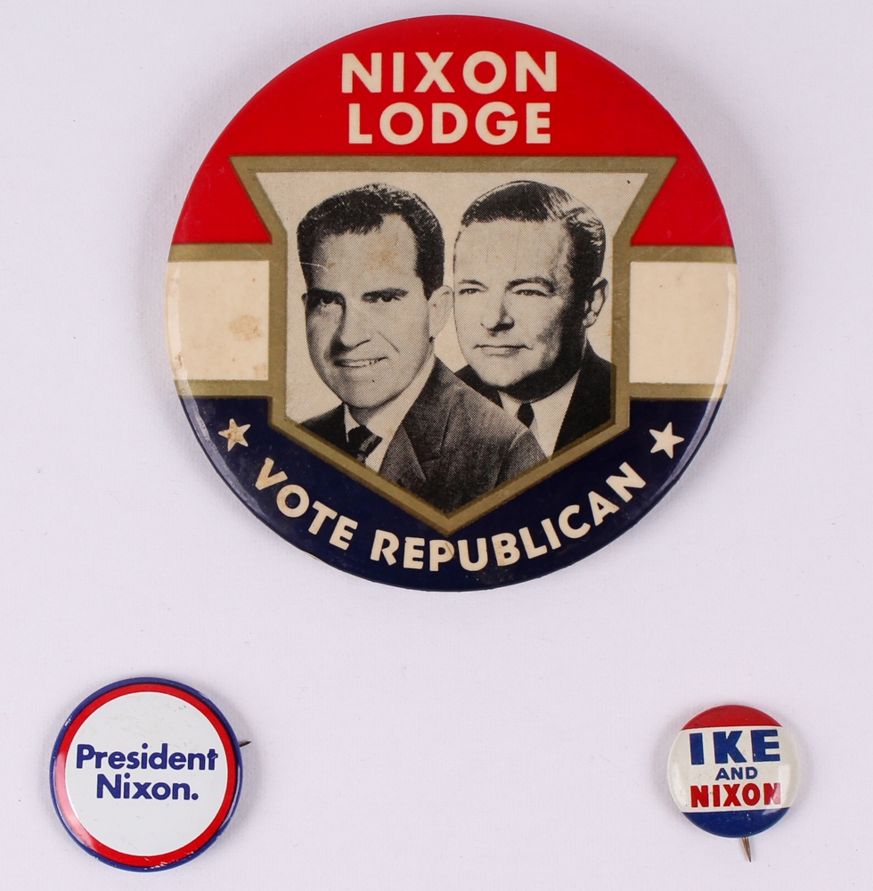 Rare Nixon Pins: Lot Of (3) Vintage Richard Nixon Campaign Pins