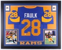 "Marshall Faulk Signed Rams 35"" x 43"" Custom Framed Jersey (JSA COA)"