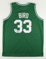 Larry Bird Signed Celtics Throwback Jersey with Reggie Lewis Memorial Armband (Bird Hologram)