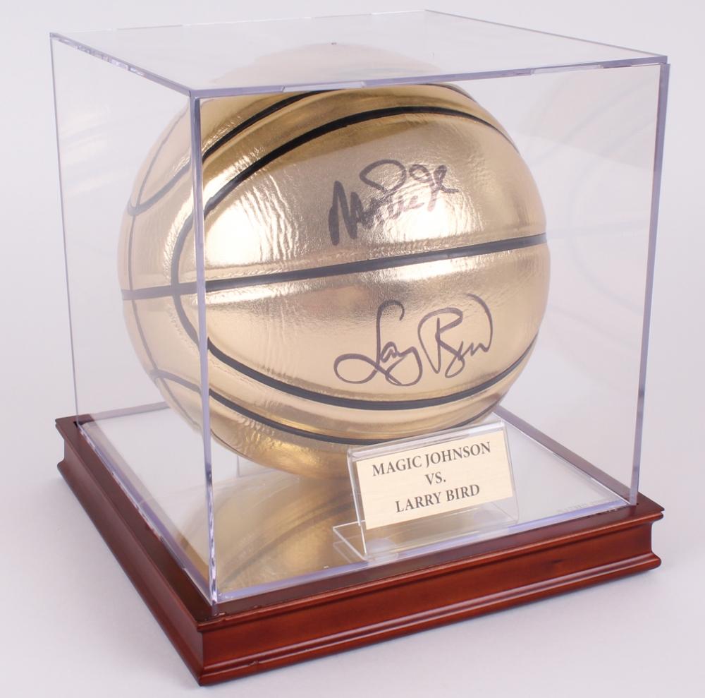 magic johnson u0026 larry bird signed gold basketball with display case psa coa at - Basketball Display Case