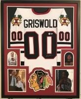 """Chevy Chase Signed Blackhawks 34"""" x 42"""" Custom Framed Jersey (Beckett COA)"""
