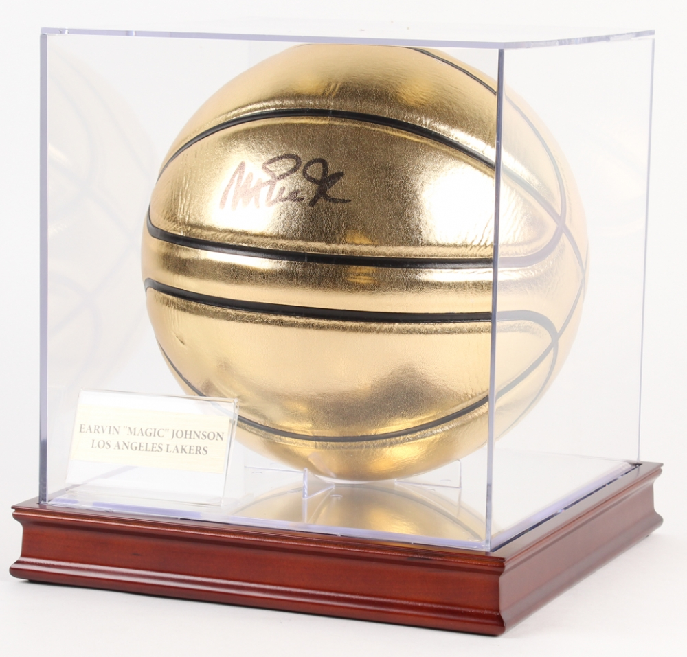 magic johnson signed gold basketball with display case beckett coa at - Basketball Display Case