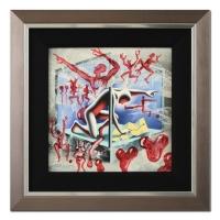"Mark Kostabi Signed ""If All Else Fails"" 18x18 Custom Framed Original Painting on Canvas"