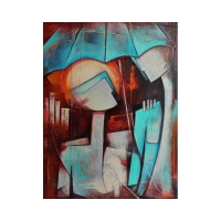"Juan Cotrino Signed ""Romantic Rain"" 30x40 Original Mixed Media Acrylic on Canvas at PristineAuction.com"