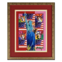"""Peter Max Signed """"Liberty with Five Flags"""" 29x35 Custom Framed One-Of-A-Kind Acrylic Mixed Media"""
