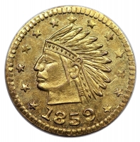 1859 California Gold Round Indian Charm (Gold Coin)