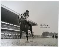 "Ron Turcotte Signed Secretariat 16x20 Photo Inscribed ""Belmont 73"" (SI COA)"