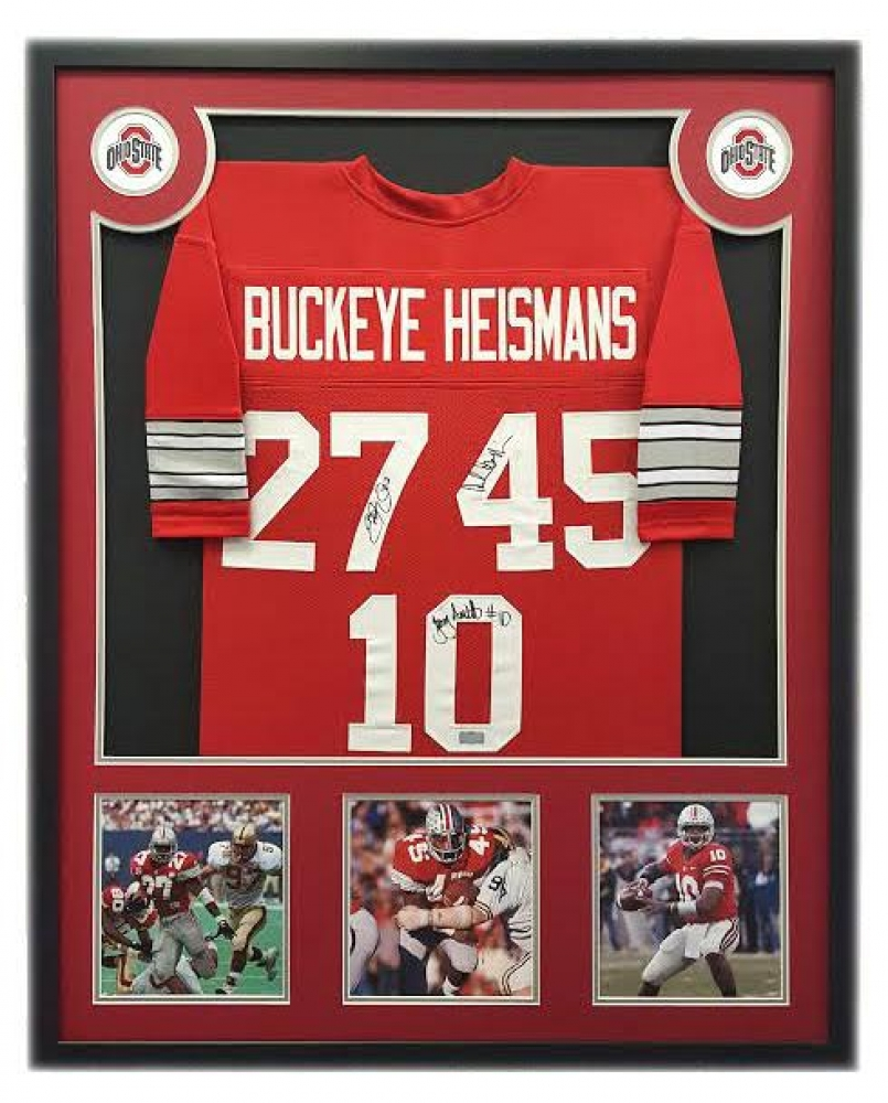 b3ec804c4a0 Eddie George, Archie Griffin, & Troy Smith Signed Ohio State Buckeyes 34