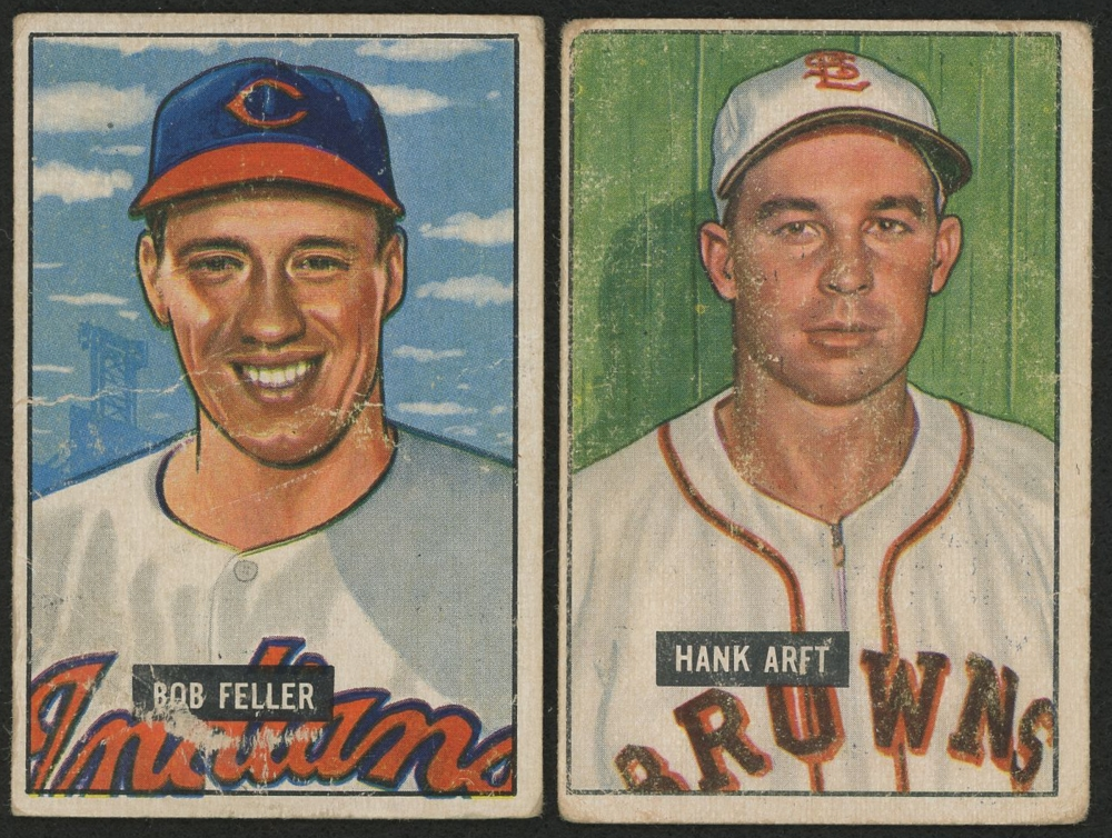 Lot Of 2 1951 Bowman Baseball Cards With 30 Bob Feller 173 Hank Arft