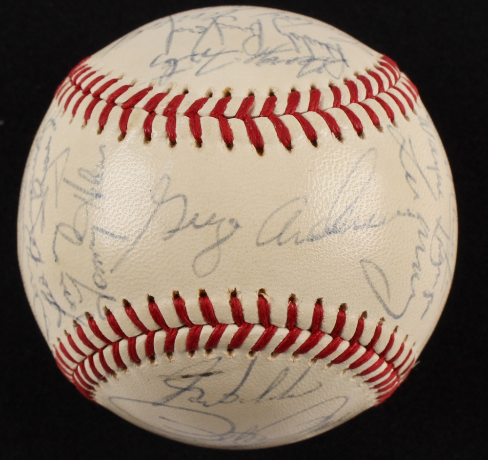 Johnny Bench Autographed Baseball Part - 42: 1971 Cincinnati Reds Team-Signed ONL Baseball With (18) Signatures  Including Pete Rose