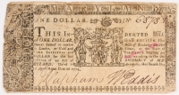 1774 Maryland One-Dollar Colonial Currency Note - April 10th, 1774