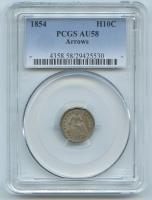 1854 Seated Liberty Silver Half-Dime - Arrows (PCGS AU 58)