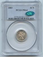1883 Three-Cent Nickel (PCGS PR 64) (CAC)