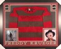 "Robert Englund Signed ""A Nightmare on Elm Street"" 35"" x 43"" Custom Framed Movie Prop Replica Freddy Krueger Sweater (PA COA)"