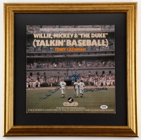"Duke Snider, Mickey Mantle & Willie Mays Signed ""Talkin' Baseball"" 19"" x 19"" Custom Framed Record (PSA LOA)"