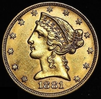 1881 $5 Five Dollars Liberty Head Half Eagle Gold Coin (High Grade Condition)