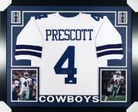 """Dak Prescott Signed Cowboys 35"""" x 43"""" Custom Framed Jersey (JSA)"""