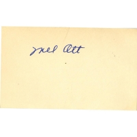 Mel Ott Signed 3x5 Index Card (JSA)