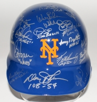 1986 Mets Batting Helmet Team-Signed by (28) with Dwight Gooden, Darryl Strawberry, Keith Hernandez (Steiner COA)